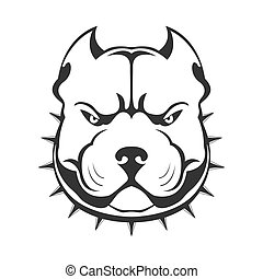 American bully emblem. Bully dog's head in collar with spikes isolated on white.