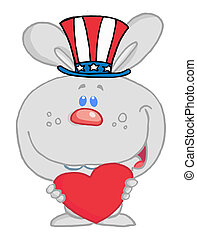 American Bunny Holding A Red Heart