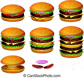 American Burgers All Size - Illustration of a set of various...