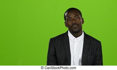 American businessman in a severe depression, he is bankrupt. Green screen
