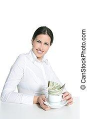 American businesswoman coffee break metaphor