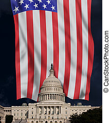 American Capital Building and Flag.