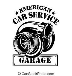 American car engine vector illustration