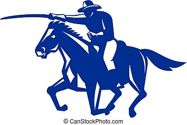 American Cavalry Charging Retro - Retro style illustration ...