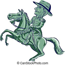 American Cavalry Officer Riding Horse Prancing Cartoon -...