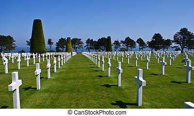 American Cemetery at Normandy in Colleville-sur-Mer, France. The cemetery overlooks Omaha Beach.