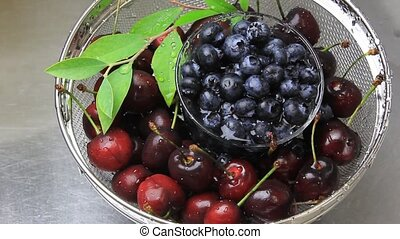 american cherry and blueberry - I am washing an American...