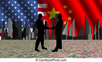 American chinese meeting with skyline flags and currency illustration