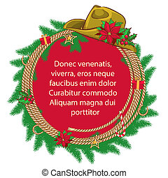 American Christmas background with cowboy hat and christmas wreath