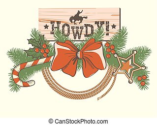 American Christmas decoration for cowboy western background or design