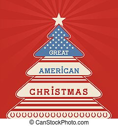 American christmas tree poster background with patriotic...