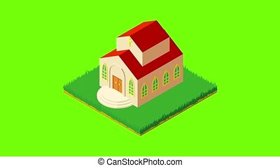 American church icon animation cartoon best object on green screen background