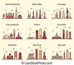 American cities San Francisco New York Chicago Los Angeles Miami Atlanta Boston Seattle Denver skylines detailed silhouette Trendy vector illustration linear style
