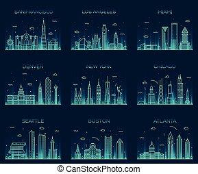 American cities skyline trendy illustration linear