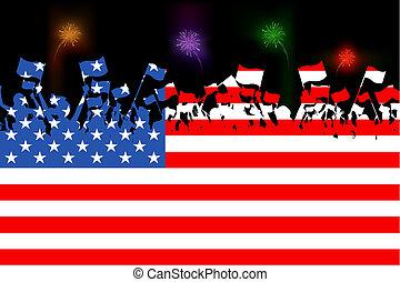 illustration of people waving flag on American flag background