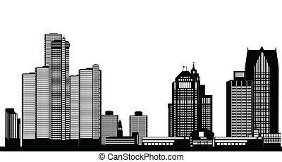 american city detroit skyline