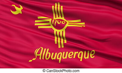 American City Flag of Albuque - Albuquerque Waving American...