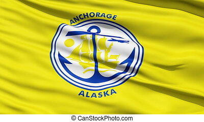 American City Flag of Anchorage - Anchorage Alaska Waving...