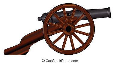 Typical American civil war cannon gun isolated on a white background