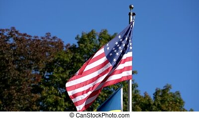 American Civil War Flag Flaps In Mild Breeze.