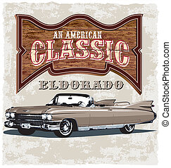 american classic eldorado - illustration for shirt printed ...