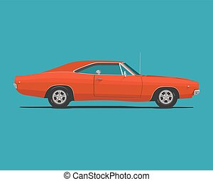 American Classic Muscle Car - American Classic Red Color...