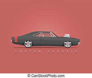American classic muscle car. High detailed vector illustration.