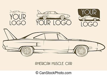 American classic muscle car, silhouettes, logo