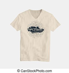 American Classic Muscle Car T-Shirt Design Template. Vector Illustration.