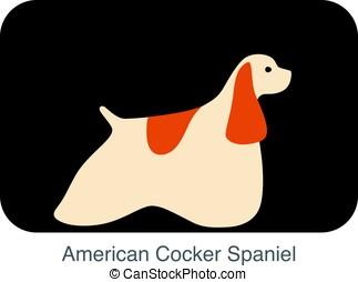 American Cocker Spaniel dog breed flat icon design