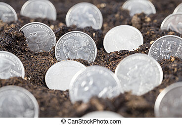 American coins in the ground