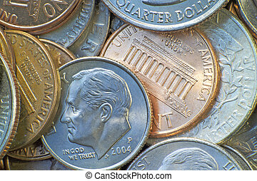 American coins including the penny, nickel, dime, and quarter. (macro,14MP camera)
