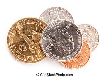 american coins on white background