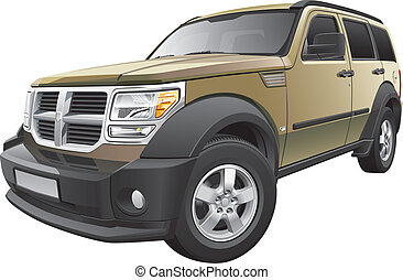 Detail vector image of American sport utility vehicle, isolated on white background. File contains gradients and transparency. No blends and strokes. Easily edit: file is divided into logical layers and groups.
