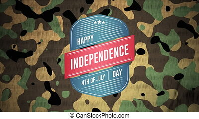 Animation of Happy Independence 4th of July Day and constitution text on moving camouflage background. American flag patriotism independence concept digitally generated image.