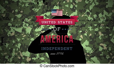 Animation of United States of America Independent since 1776, Constitution text on soldier saluting on camouflage background. American flag patriotism independence concept digitally generated image.