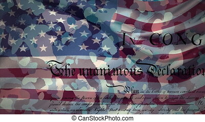 Animation of constitution text, American flag stars and stripes on camouflage background. American flag patriotism independence concept digitally generated image.