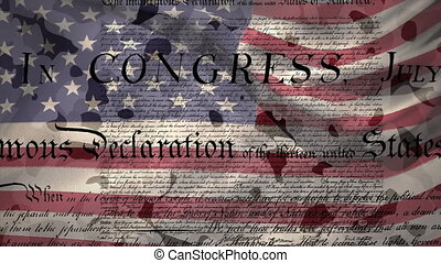 Animation of constitution text, American flag stars and stripes waving on camouflage background. American flag patriotism independence concept digitally generated image.