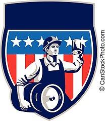American Construction Worker Beer Keg Crest Retro