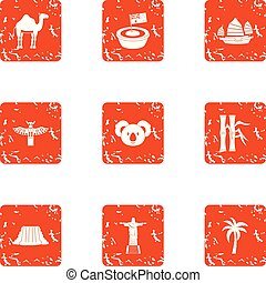 American continent icons set, grunge style