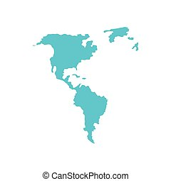 american continent maps silhouette