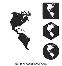 American continents icon set, monochrome