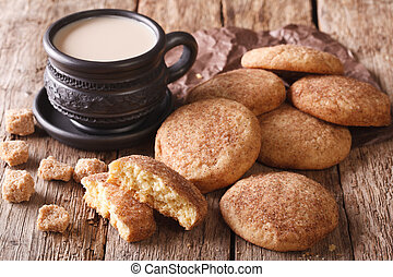 American cookies Snickerdoodle and coffee with milk close-up...
