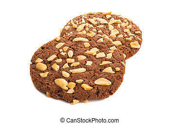 american cookies with nuts isolated