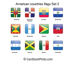 American countries flags set 2