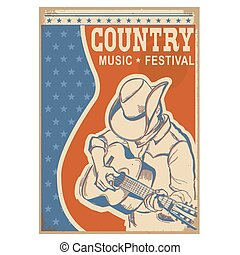 American Country music background retro poster with text