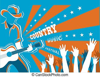 Country music concert with musician playing guitar.Vector background