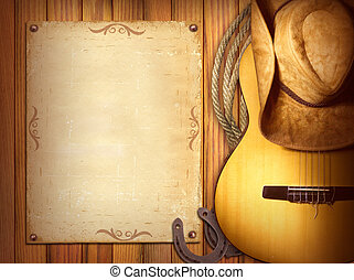 American Country music poster. Wood background with guitar...