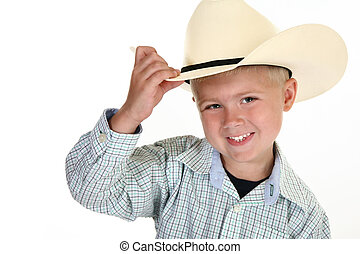 American Cowboy - Adorable four year old cowboy over white...