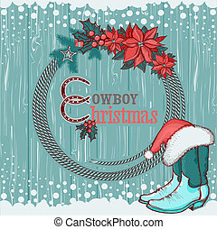 American cowboy Christmas background on wood texture -...